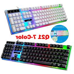 104 Keys USB Wired Mechanical Gaming Keyboard 7-Color Backli