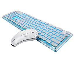 2.4G Wireless Keyboard and Mouse Combo, Backlit Glowing Keyb