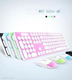 2.4GHz Wireless Colorful Circular Keys Office Keyboard Mouse