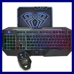 AULA  Rainbow LED Backlit Gaming Keyboard & Mouse Combo with