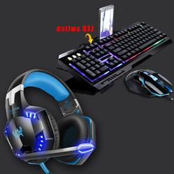 3.5mm Gaming Headset Mic LED Stereo Headphones / Gaming Keyb