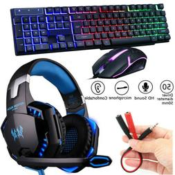 3.5mm Gaming Headset Mic LED Stereo Headphones /Gaming Keybo