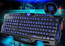 3 Color Backlit Gaming USB Wired Keyboard Multimedia Illumin