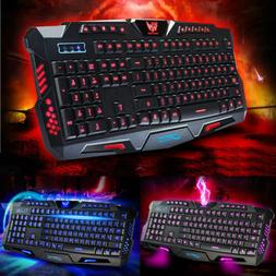 3 Colors LED Backlight USB Multimedia PC Gaming Keyboard for