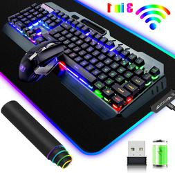 3in1 Wireless Gaming Keyboard and Mouse Combo Rainbow LED Ba