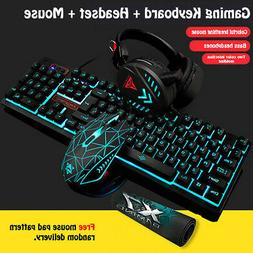 4-in1 PC Gaming Sets LED Keyboard Mouse Headset & Mouse-Pad
