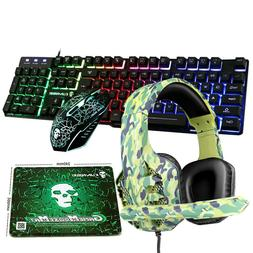 4in1 Combo Wired Led Rainbow Gaming Keyboard Mouse + Headset