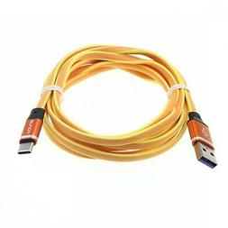 6FT LONG USB CABLE ORANGE TYPE-C CHARGE CORD POWER WIRE for
