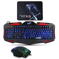 Gaming Keyboard and Mouse Sets - BAKTH 3 Cool Colors LED Bac