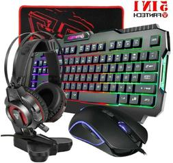 All-in-One PC Gaming Set, Rainbow Backlit keyboard, 4800DPI