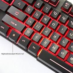 AMAZING Keyboard LED Back Lit 3 Colors USB Wired For Working