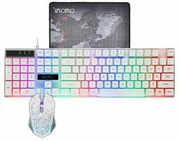CHONCHOW LED Backlit Wired Gaming Keyboard and Mouse Combo M