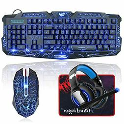 BlueFinger Backlit Gaming Keyboard and Mouse and LED Headset