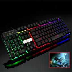 USB Wired PC Computer Rainbow Gaming Keyboard Colorful LED I