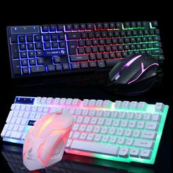 Computer Desktop Glowing Keyboard And Mouse Set USB Game Sui