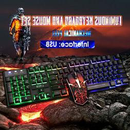 Computer Glowing Keyboard And Mouse Set Wired USB Game Suite