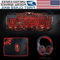 Crack Backlit Gaming Keyboard Mouse and LED Gaming Headset C