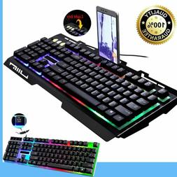 G700/G21 LED Rainbow Color Backlight 104 Keys Gaming Game US