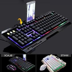 Game Luminous Wired Usb Mouse Adjustable With Keyboard Rainb