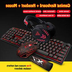 Gaming Backligh Keyboard and Mouse Set W/Headset USB Optical