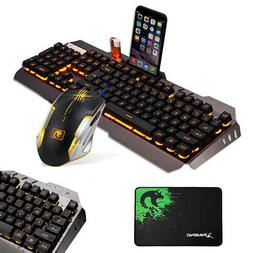 Gaming Keyboard and Mouse and Mouse Pad Mat Mechanical Feel
