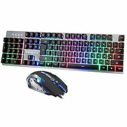 Gaming Keyboard and Mouse Combo,Ergonomic Keyboard with Colo