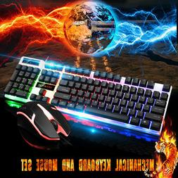 Gaming Keyboard And Mouse Combo Set USB With Rainbow Backlig