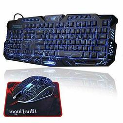 Gaming Keyboard and Mouse Combo,BlueFinger USB Wired Compute