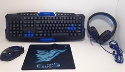 Gaming Keyboard and Mouse Combo Wireless w/ Microphone Heads