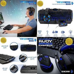 Gaming Keyboard & Mouse Headphone Combo Set Microphone Blue