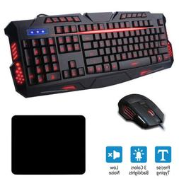 Gaming Keyboard & Mouse LED Backlight 3 Colors USB Wired For