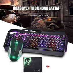 Gaming Keyboard and Mouse+Mouse Pad Set LED Rainbow Backligh