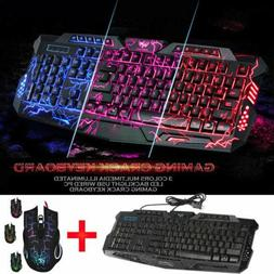 Gaming Keyboard And Mouse Set RGB LED Wired USB For PC PS4 X