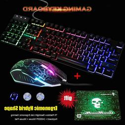 Game equipment USB led wired keyboard quiet and mouse mousep