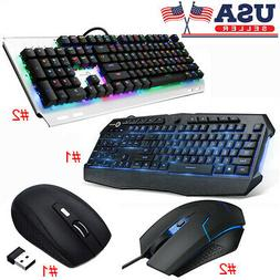 Gaming Keyboard LED Backlight Mechanical USB Ergonomic Wired
