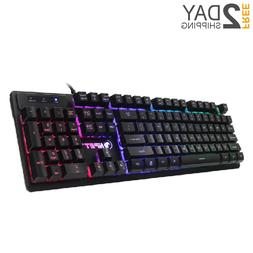 Gaming Keyboard Mechanical Feeling Backlit Illuminated PC Wi