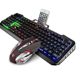 Gaming Keyboard Mouse Combo SADES Keyboard Wired Colorful Li