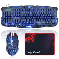 Gaming Keyboard and Mouse Combo-BlueFinger USB Wired LED Bac