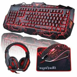 BlueFinger Gaming Keyboard Mouse Headset Combo,USB Wired Key
