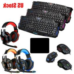 Gaming Keyboard Mouse Headset Game Combo Suit Set 3Color LED