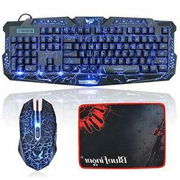 BlueFinger Gaming Keyboard  Mouse,Keyboard and Mouse Combo,L