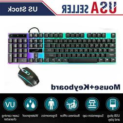 Gaming Keyboard Mouse Set Rainbow LED USB Wired Accessories