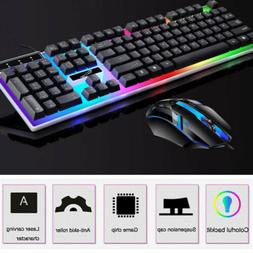 Gaming Keyboard Mouse Set Rainbow LED Wired USB For PC Lapto