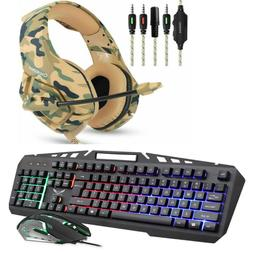 Gaming Keyboard Mouse Stereo Headset Headphone With Mic For