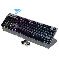 Guanwen Gaming Mechanical Feel Keyboard, Wireless Rainbow Ba