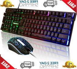 Gaming Mechanical Keyboard And Mouse Backlit Set Combo Adapt