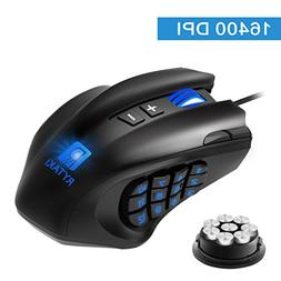 Gaming Mouse, Rytaki High-Precision 16400 DPI Laser MMO Wire