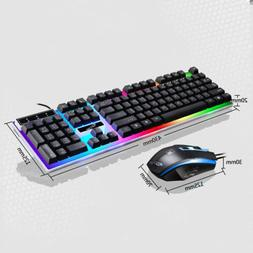 Gaming Rainbow LED Pro Keyboard Mouse Set Anti-slip Wheel Fo