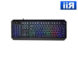 Rii RK300 Multimedia Gaming Keyboard w/ 7 Adjustable LED Col