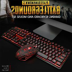 Keyboard and Mouse Set combo Gaming USB Wired RGB conflict-f